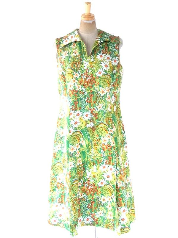 ヨーロッパ古着 ロンドン買い付け 70年代製 グリーン X カラフル 花柄 ヴィンテージ ワンピース 21OM108