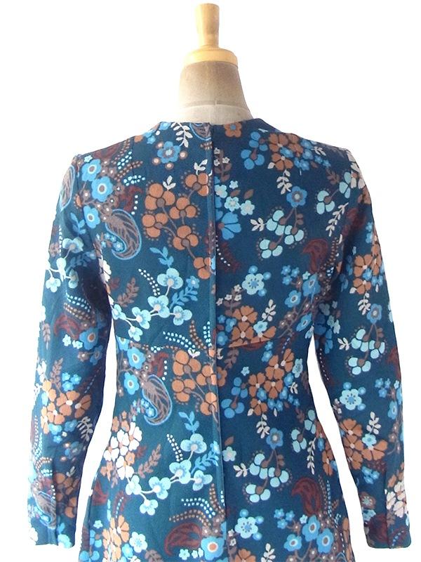 ヨーロッパ古着 ロンドン買い付け 70年代製 ブルーグリーン X オレンジ・水色 花柄モチーフ レトロ柄 ワンピース 21OM111