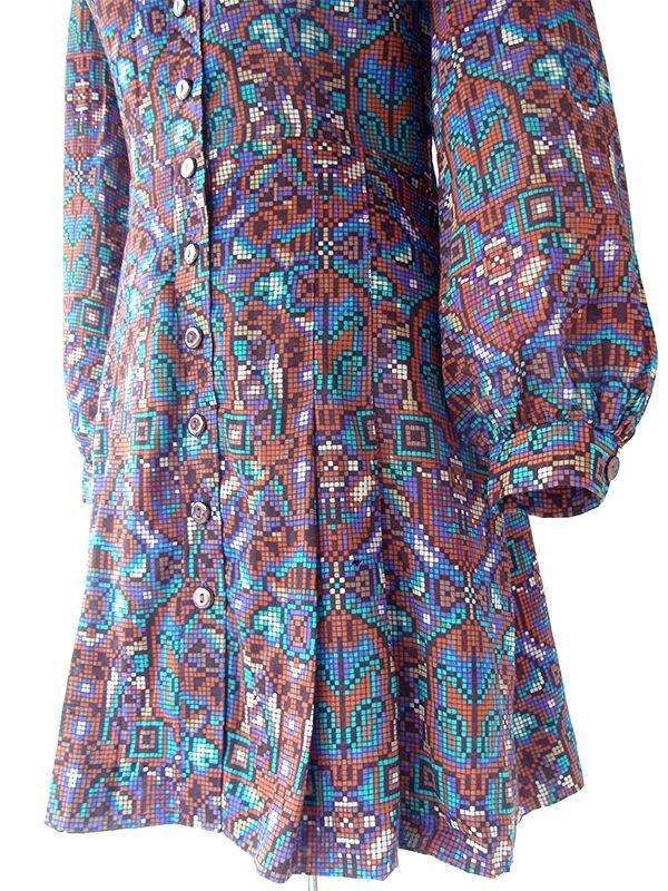 ヨーロッパ古着 ロンドン買い付け 60年代製 Betty Barclay ブラウン X ブルー モザイク柄 ウール ワンピース 21OM114