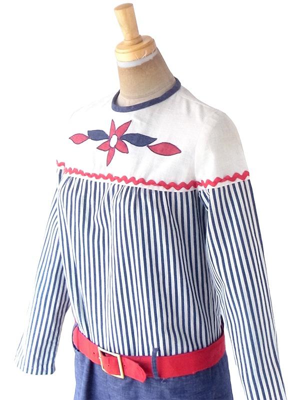 ヨーロッパ古着 ロンドン買い付け 60年代製 ホワイト X ブルー ストライプ 花柄刺繍 山道テープ ベルト付き ワンピース 21OM210