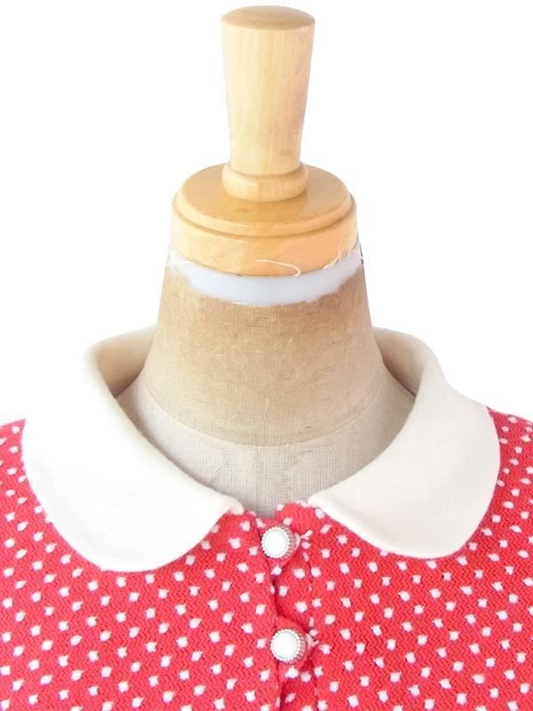【ヨーロッパ古着】ロンドン買い付け 70年代製 レッド X ホワイト 水玉 刺繍 レトロ ワンピース 21OM403【おとなかわいい】