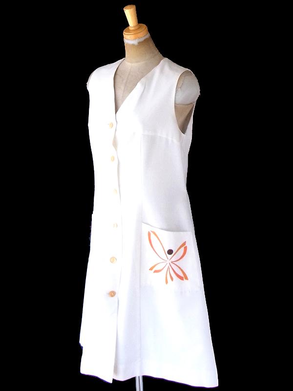 ヨーロッパ古着 ロンドン買い付け 60年代製 ホワイト X オレンジ 花柄刺繍 ポケット付き ヴィンテージ ワンピース 21OM406