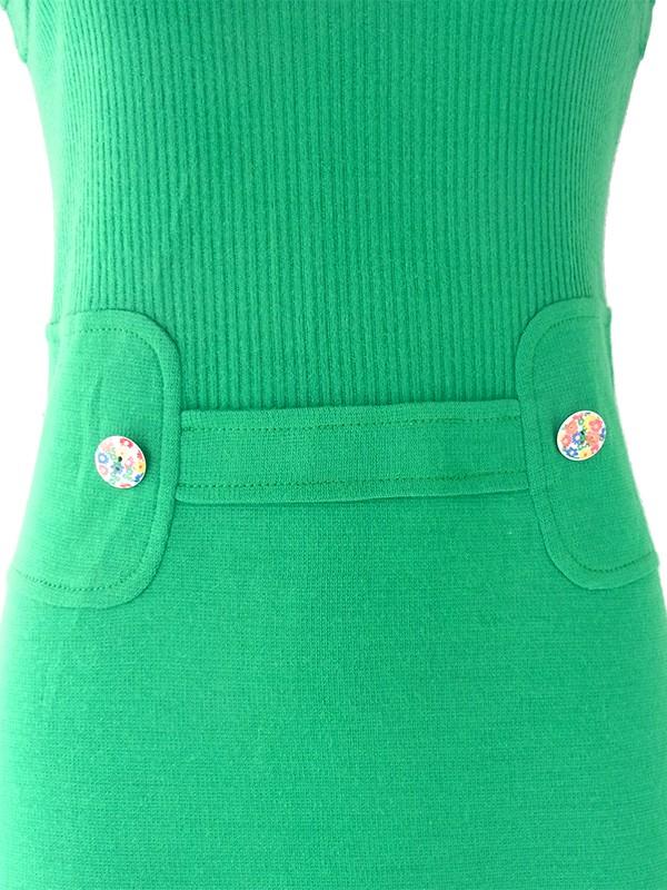 ヨーロッパ古着 60年代フランス製 ブライトグリーン X 花柄飾りボタン シームデザイン ヴィンテージ ワンピース
