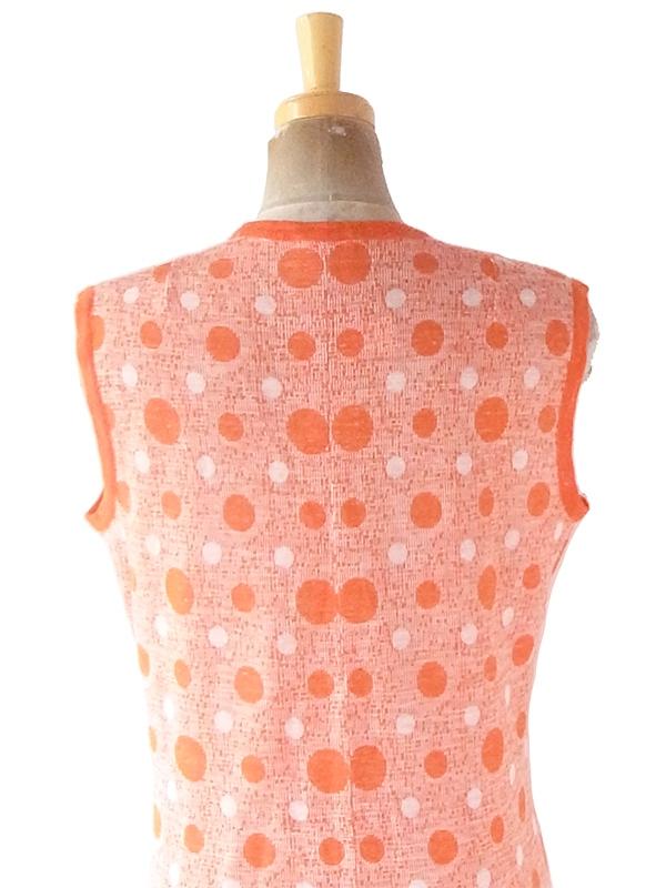 【ヨーロッパ古着】ロンドン買い付け 70年代製 オレンジ X ホワイト 水玉 ワンピース 21OM500【おとなかわいい】