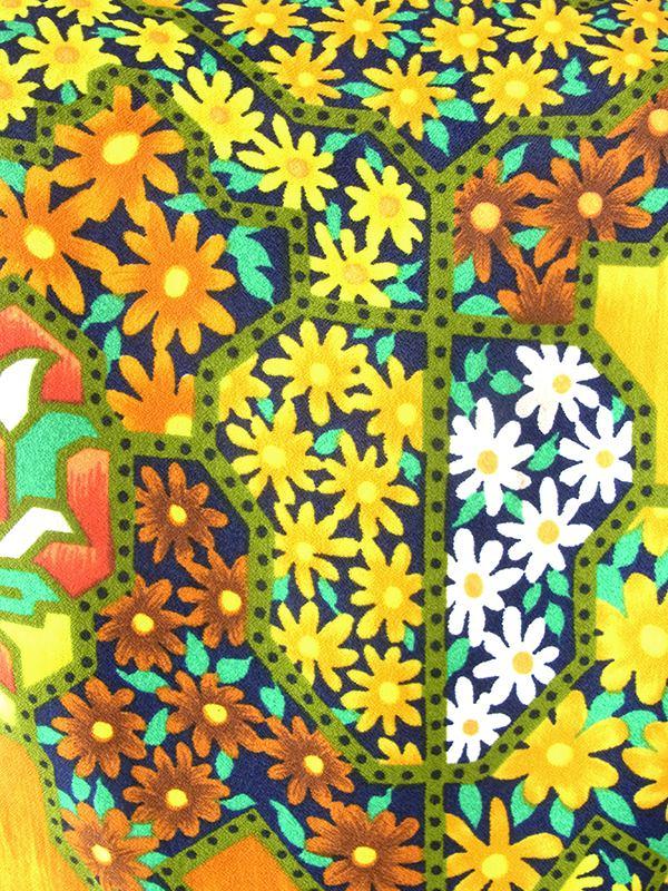 【送料無料】ロンドン買い付け 70年代製 カラフル花柄 X ブラウン レトロ ワンピース 21OM609【ヨーロッパ古着】