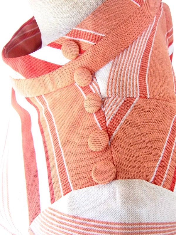 【ヨーロッパ古着】ロンドン買い付け 70年代製 ピンク X バーガンディー  ボーダー 肩飾りボタン レトロ ワンピース 21OM705