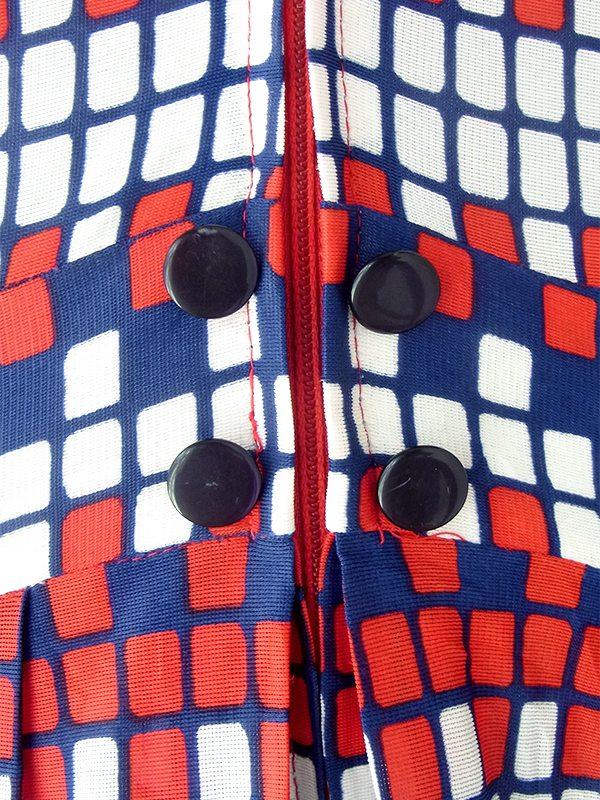 【送料無料】ロンドン買い付け 70年代製 トリコロール ブロックチェック フロントジップ レトロ ワンピース 21OM706【ヨーロッパ古着】