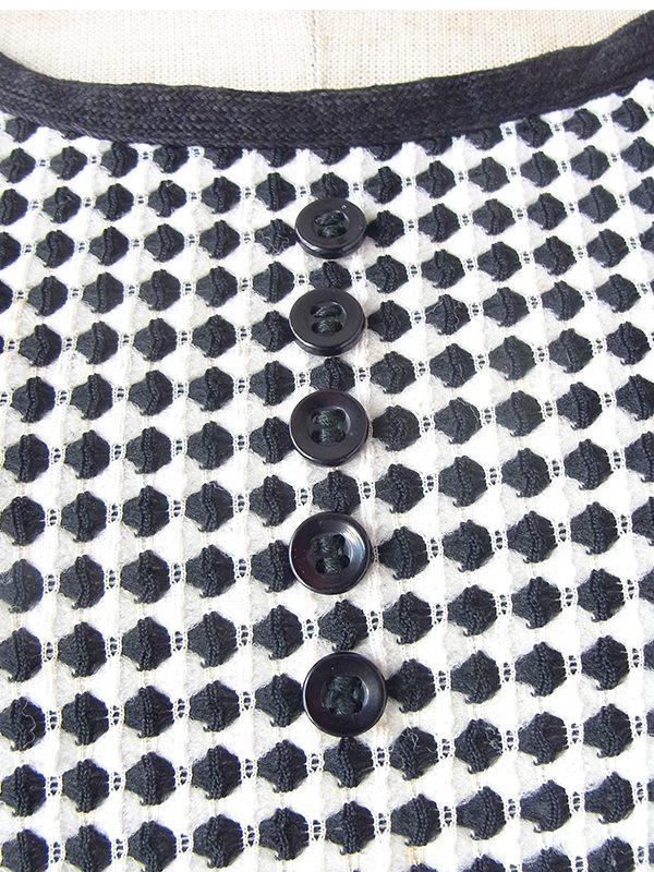 ロンドン買い付け 70年代製 ネイビー X ホワイト 水玉 ドロップウェスト ヴィンテージ ワンピース 21OM715