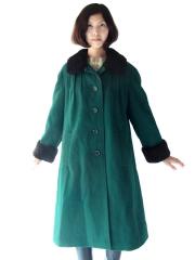 ロンドン買付 60年代製 グリーン X ブラック ファー襟・袖 ヴィンテージ ウールコート 15BS439