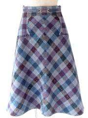 ヨーロッパ古着 フランス買い付け 60年代製 ブルー X パープル・グレイ タータンチェック ポケット付き スカート 20FC517