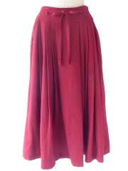 ヨーロッパ古着 フランス買い付け 70年代製 ボルドー X 共布ベルト付き ポケット付き プリーツ スカート 20FC706