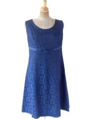ヨーロッパ古着 ロンドン買い付け 70年代製 ロイヤルブルー X 花柄総レース ヴィンテージ ドレス 21BS012