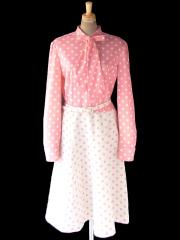 【送料無料】ロンドン買い付け 70年代製 ピンク X ホワイト 水玉 切り返し ベルト付き ボウタイ ワンピース 21OM004【ヨーロッパ古着】