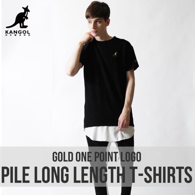 KANGOL REWARD 金糸ワンポイント刺繍パイルロング丈Tシャツ