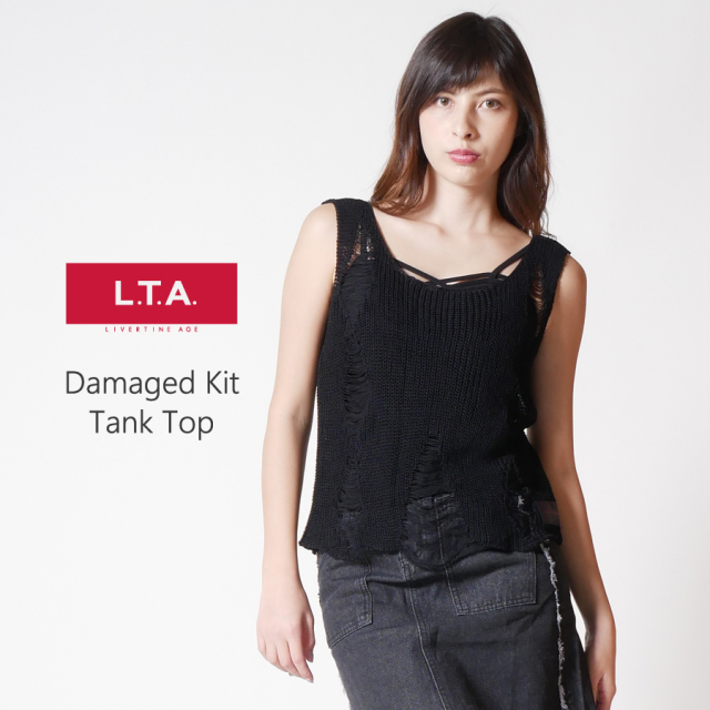 LTA ダメージデザイン抜け感ニットトップス