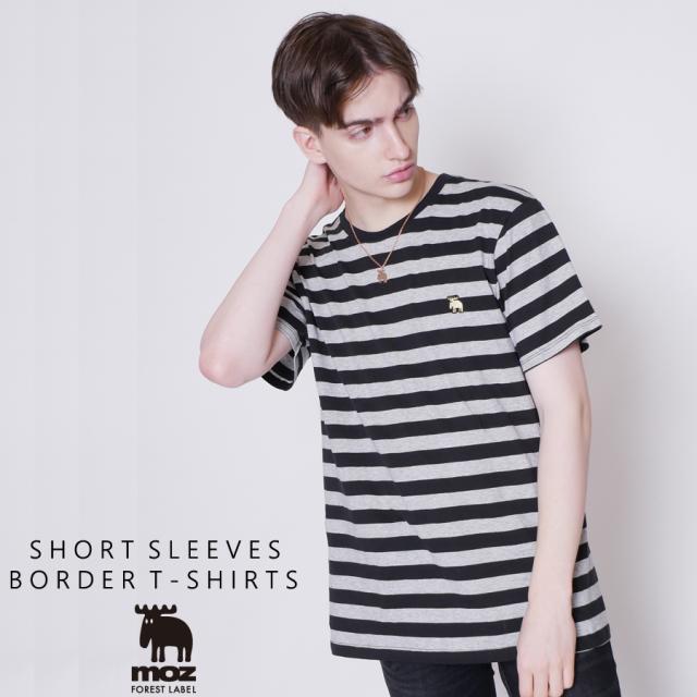moz FOREST LABEL  ボーダーロゴ刺繍半袖Tシャツ◆
