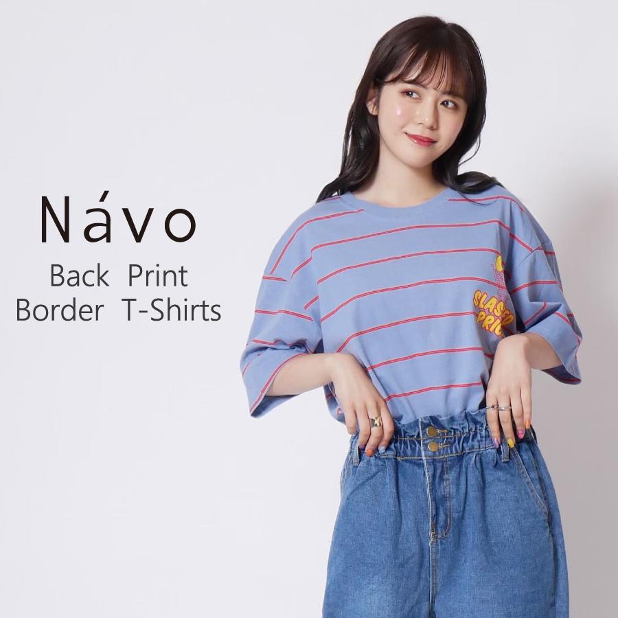 Navo バックプリントワッペンボーダーTEシャツ◆