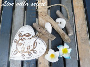 【マリン】★木彫りのハートと流木の吊り下げオブジェ 102004