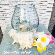 バリガラスとシェルのフラワーベース オブジェ