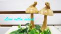 【アジアン】木彫り・ヤモリときのこ 501131