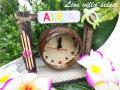 ココナッツのハワイアン置時計ALOHA  22051003a