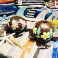 ホヌ(カメ)のココナッツ貯金箱 ハイビスカス・プルメリア WA-103539