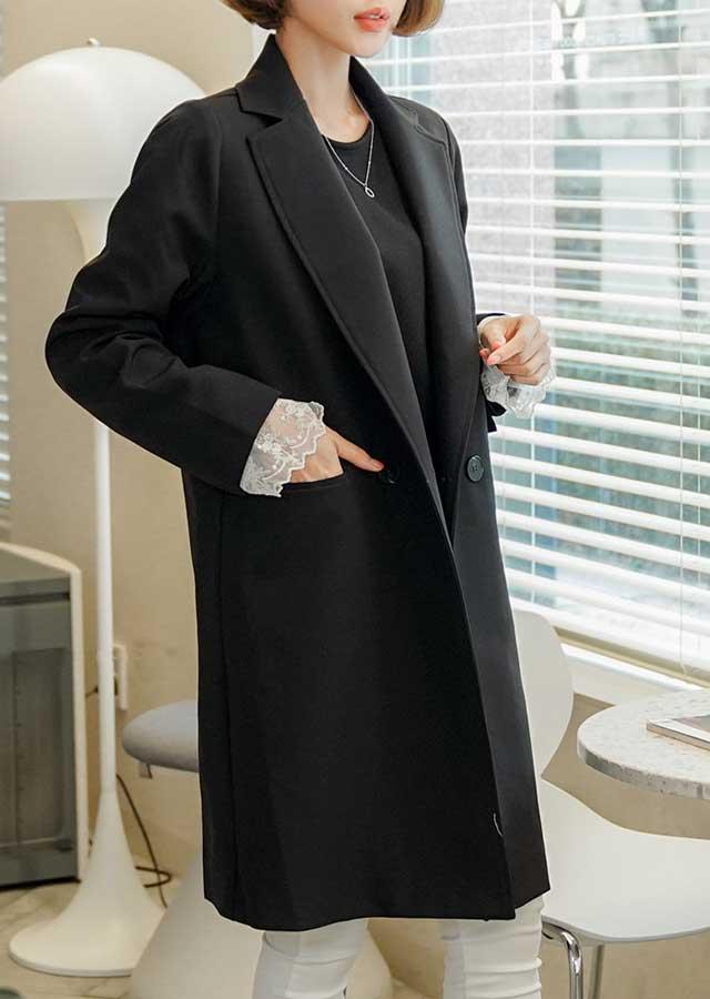 【春新作】モダンでスタイリッシュ♪ベーシックロングスプリングコート(ブラック)【Lサイズ LLサイズ 3Lサイズ 4Lサイズ 5Lサイズ 6Lサイズ 7Lサイズ】