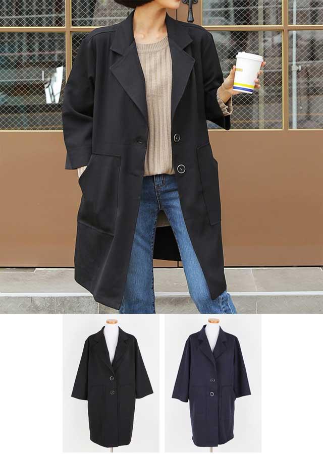 【冬新作】スタイリッシュ♪ゆったりベーシックロングジャケット(ブラック/ネイビー)【Lサイズ LLサイズ 3Lサイズ 4Lサイズ 5Lサイズ 6Lサイズ】