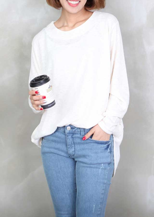 【SALE】マリーロングニットTシャツ(アイボリー/ミント/ブラック)【Lサイズ LLサイズ 3Lサイズ 4Lサイズ 5Lサイズ 6Lサイズ】