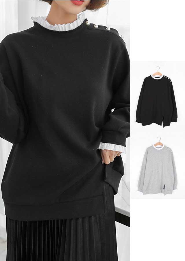 【春新作】ヘビロテOK!パール&フリルポイントロングTシャツ(ブラック/グレー)【Lサイズ LLサイズ 3Lサイズ 4Lサイズ 5Lサイズ】