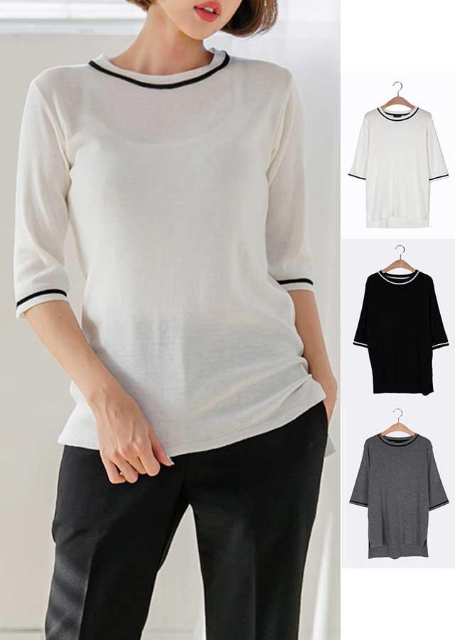 【春新作】袖&ネックラインポイントニットTシャツ(アイボリー/グレー/ブラック)【Lサイズ LLサイズ 3Lサイズ 4Lサイズ 5Lサイズ】