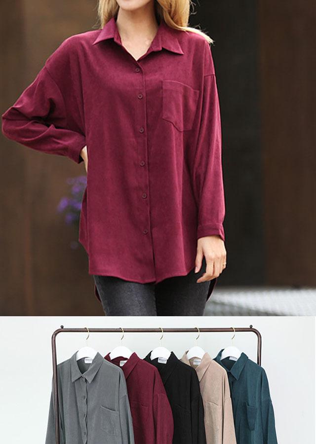 【SALE】NB51085/ベーシックデザインでベーシック色展開のルーズフィットシャツ(チャコール/グリーン/ブラック/ベージュ/ボルドー)【Lサイズ LLサイズ 3Lサイズ 4Lサイズ 5Lサイズ】