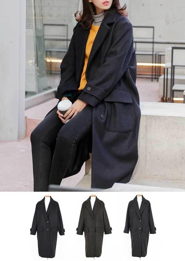 【SALE】スタイリッシュ♪ウール混紡ロングコート(ネイビー/カーキ/グレー)【Lサイズ LLサイズ 3Lサイズ 4Lサイズ 5Lサイズ 6Lサイズ】