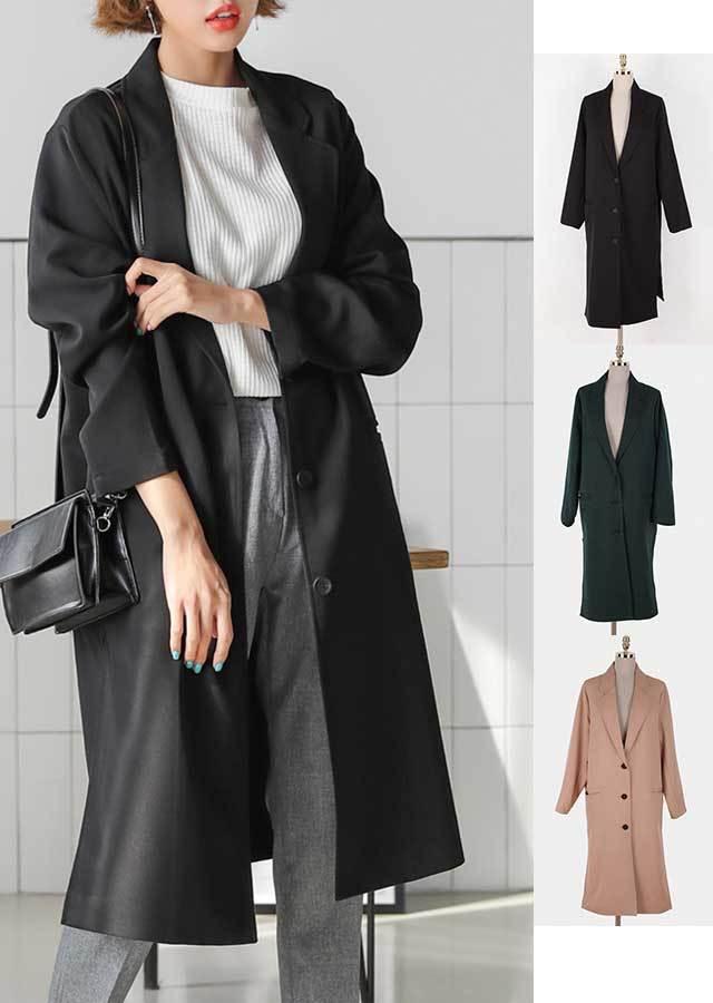 【春新作】羽織るだけで大人っぽい印象のベーシック春コート(ブラック/グリーン/ベージュ)【Lサイズ LLサイズ 3Lサイズ 4Lサイズ 5Lサイズ 6Lサイズ 7Lサイズ】