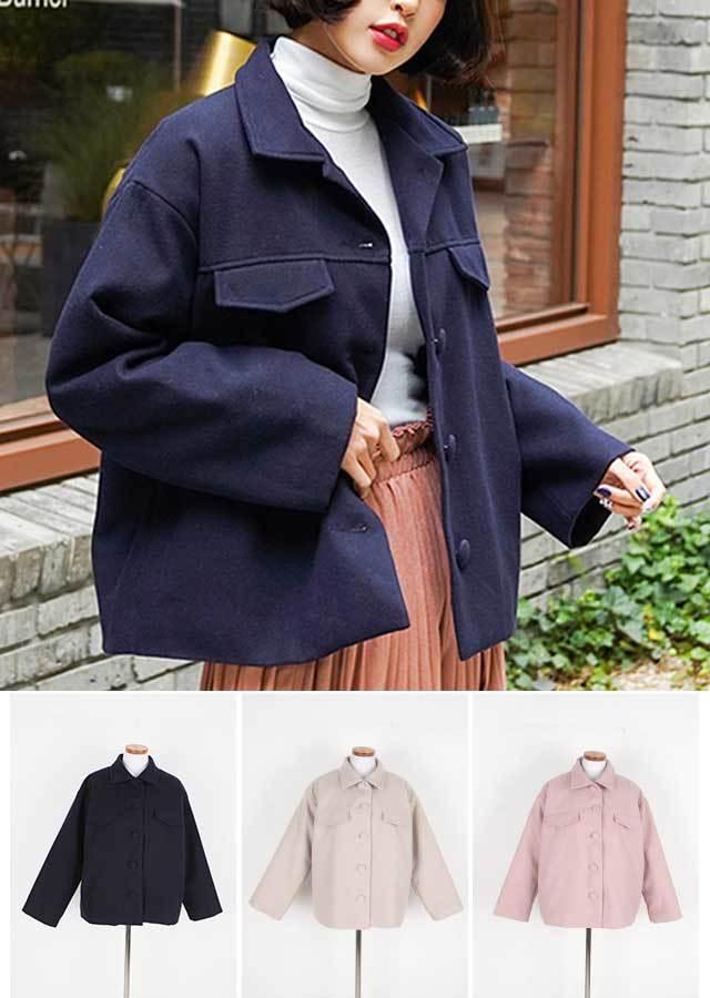【冬新作】シンプルで温かい裏キルティングショットジャケット(ネイビー/ベージュ/ピンク)【Lサイズ LLサイズ 3Lサイズ 4Lサイズ 5Lサイズ】