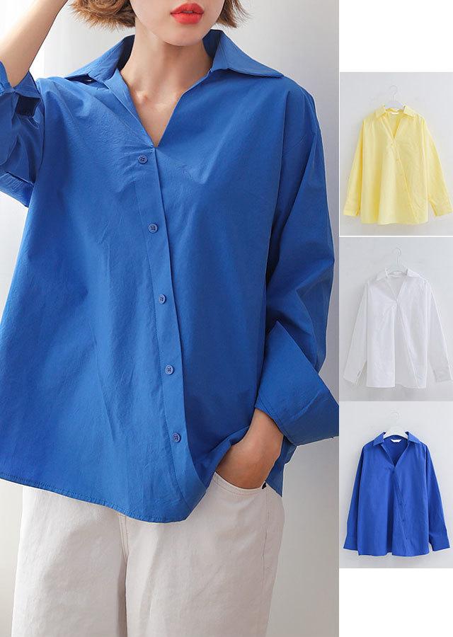 【春新作】爽やかな色目★ユニークな斜め釦ポイントシャツ(イエロー/ホワイト/ブルー)【Lサイズ LLサイズ 3Lサイズ 4Lサイズ 5Lサイズ 6Lサイズ】