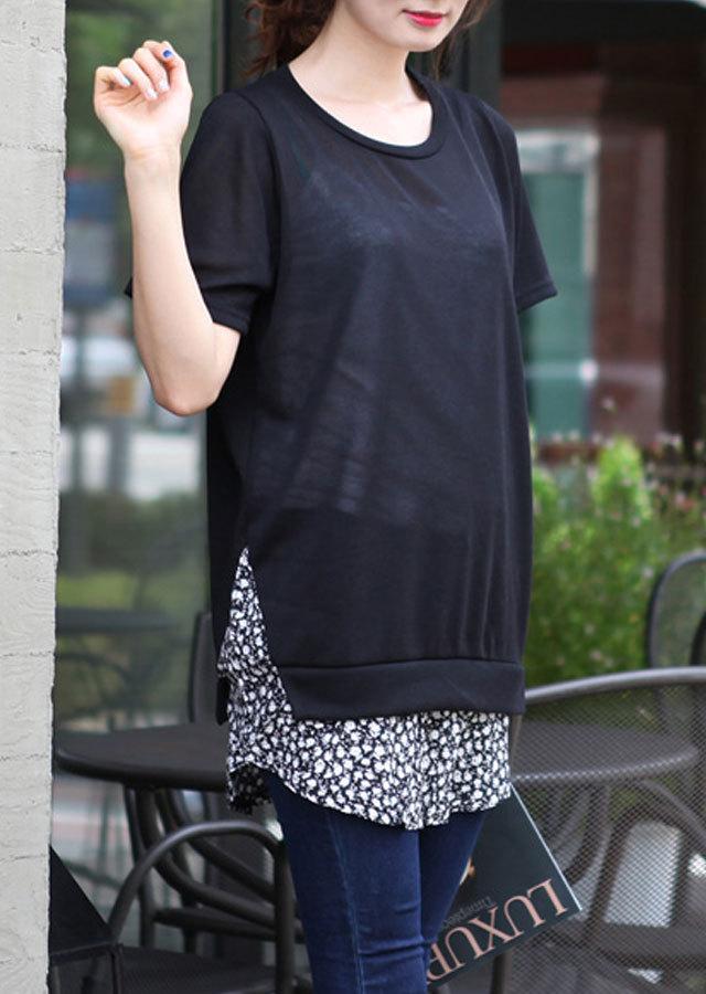 【SALE】TP70058/ページレイヤード風Tシャツ(ブラック/アイボリー)【Lサイズ LLサイズ 3Lサイズ 4Lサイズ 5Lサイズ】