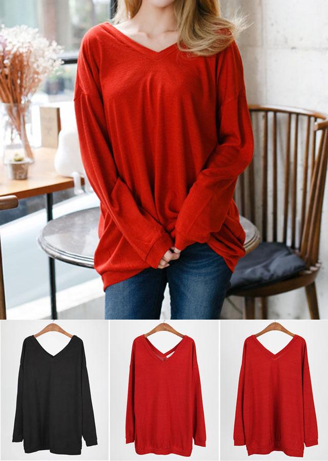 【SALE】TP37010/ゆったり両面VネックロングTシャツ(レット/ブラック)【Lサイズ LLサイズ 3Lサイズ 4Lサイズ 5Lサイズ】