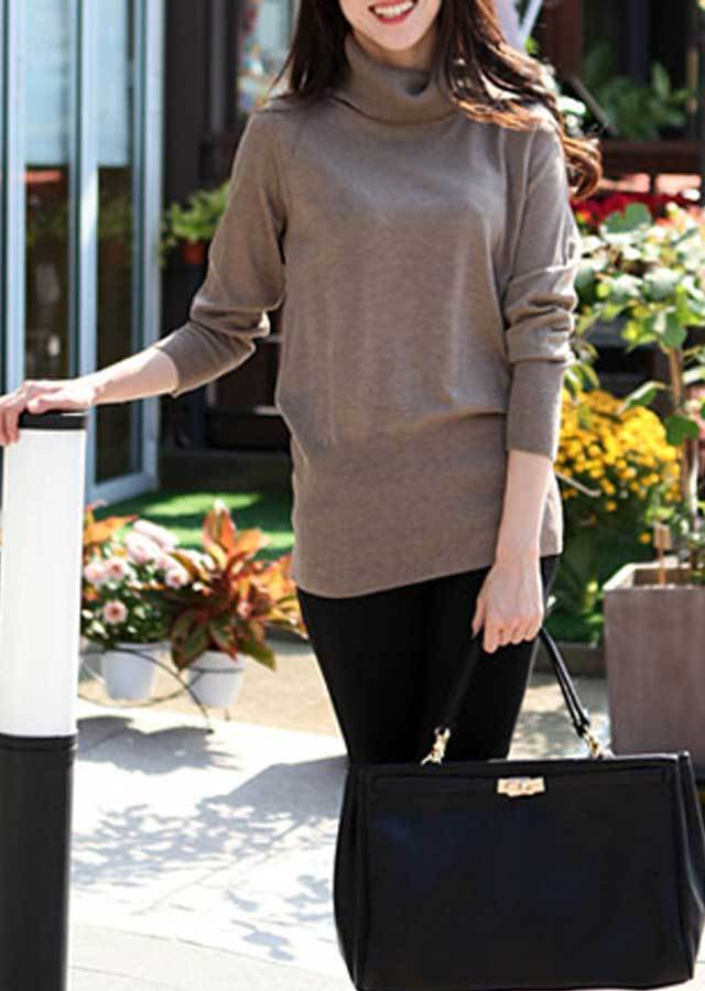 【SALE】12GハイネックニットTシャツ(アイボリー/レッド/ワイン/ココア/ブラック)【Lサイズ LLサイズ 3Lサイズ 4Lサイズ】