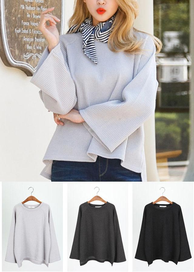 【SALE】TP50705/ゆったりしたラインが大人可愛く♪ワイドリーブニットソーTシャツ(カーキ/グレー/ブラック)【Lサイズ LLサイズ 3Lサイズ 4Lサイズ 5Lサイズ】