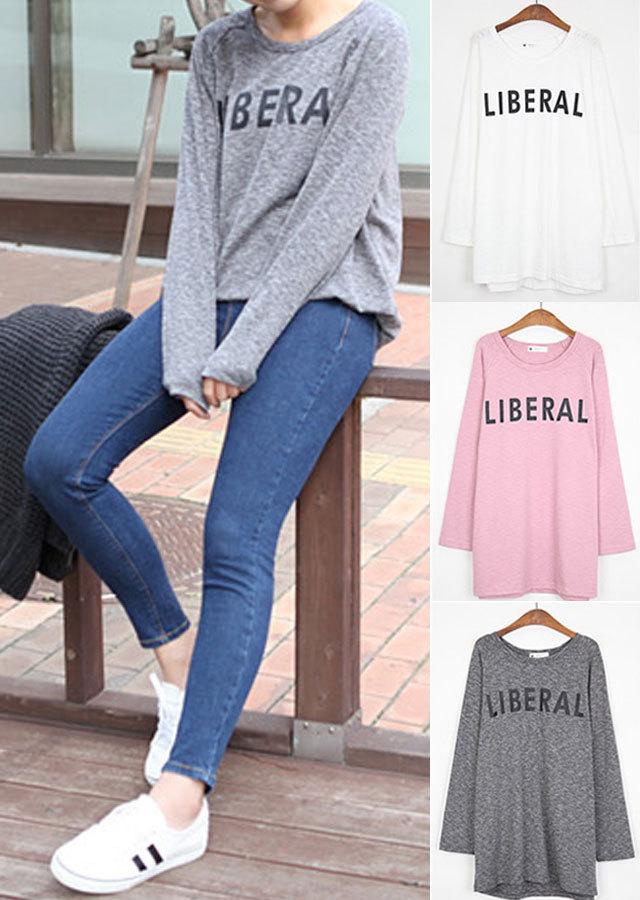 【SALE】TP11061/シンプルLIBERALプリントロングTシャツ(チャコール/ピンク/アイボリー)【Lサイズ LLサイズ 3Lサイズ 4Lサイズ 5Lサイズ】