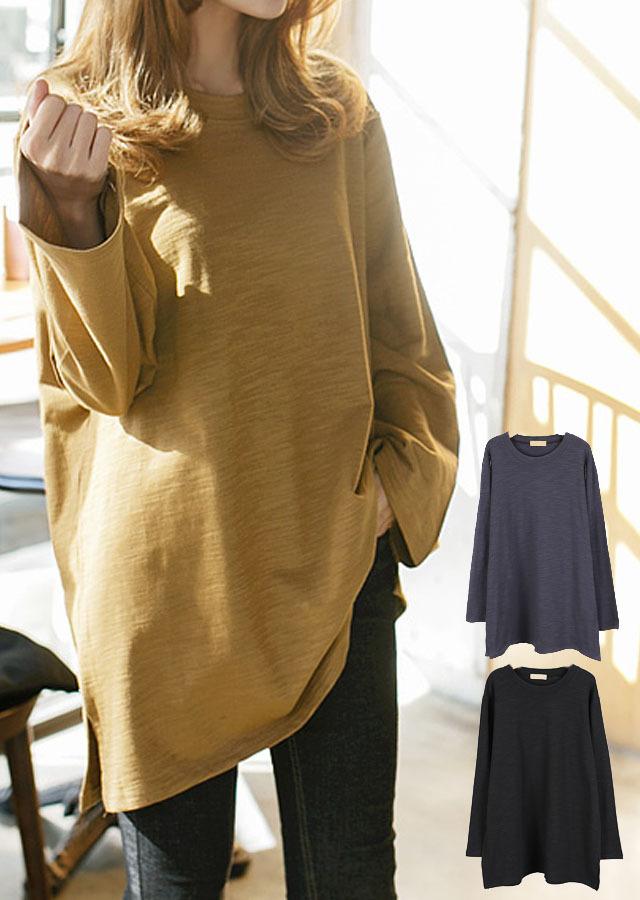 【SALE】TP35500/スッキリしたルーズフィットのベーシック長袖ロングTシャツ(ライトカーキ/チャコール/ブラック)【Lサイズ LLサイズ 3Lサイズ 4Lサイズ 5Lサイズ 6Lサイズ 7Lサイズ】