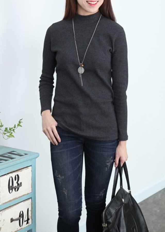 【SALE】リブハーフハイネックTシャツ(アイボリー/カーキ/チャコール/ブラック)【Lサイズ LLサイズ 3Lサイズ 4Lサイズ】