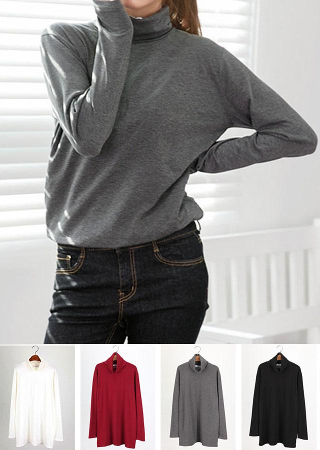 【再入荷】ベーシックアイテム!ゆるテロソフトハイネックTシャツ(ボルドー/アイボリー/ブラック/チャコール)【LLサイズ 3Lサイズ 4Lサイズ 5Lサイズ 6Lサイズ 7Lサイズ】