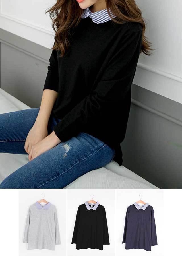 【秋新作】重ね着風デザイン♪シャツカラーポイントTシャツ(ネイビー/グレー/ブラック)【Lサイズ LLサイズ 3Lサイズ 4Lサイズ 5Lサイズ】