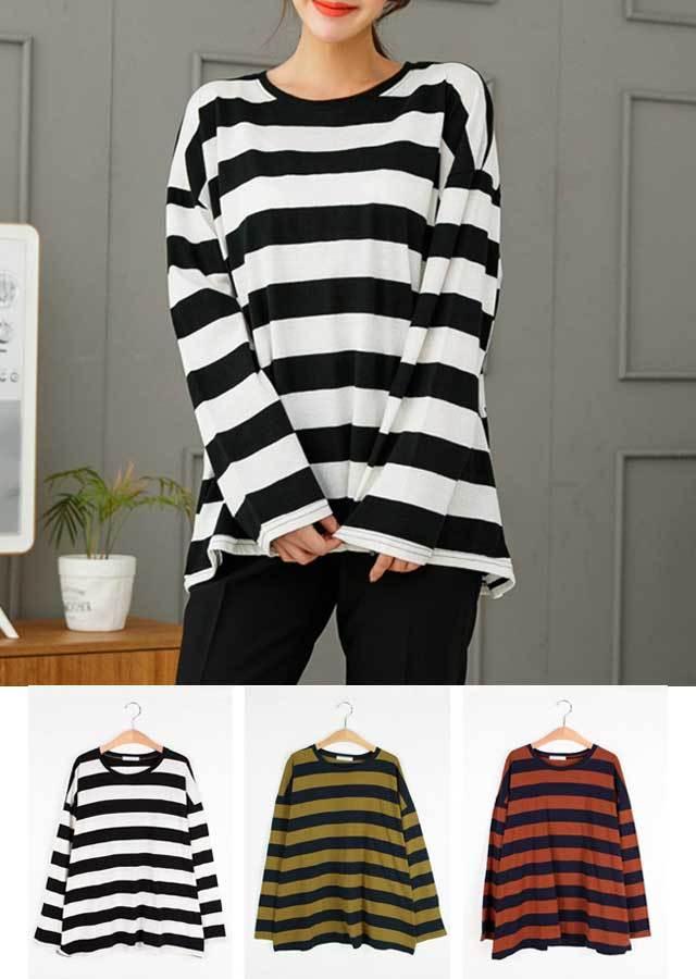 【秋新作】配色がオシャレなボーダーTシャツ(ホワイト/オリーブ/ブラウン)【LLサイズ 3Lサイズ 4Lサイズ 5Lサイズ 6Lサイズ 7Lサイズ】