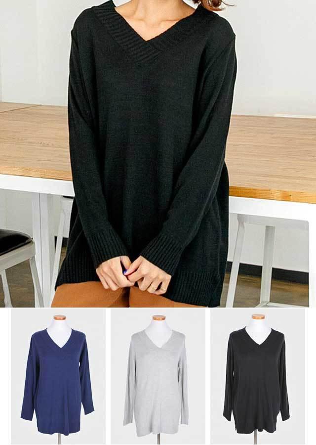 【秋新作】ベーシック!VネックロングニットT-シャツ(ブラック/ネイビー/グレー)【Lサイズ LLサイズ 3Lサイズ 4Lサイズ 5Lサイズ 6Lサイズ】