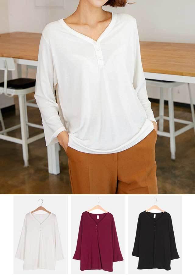 【秋新作】ベーシックアイテム!パールボタン8分Tシャツ(ホワイト/パープル/ブラック)【Lサイズ LLサイズ 3Lサイズ 4Lサイズ 5Lサイズ】