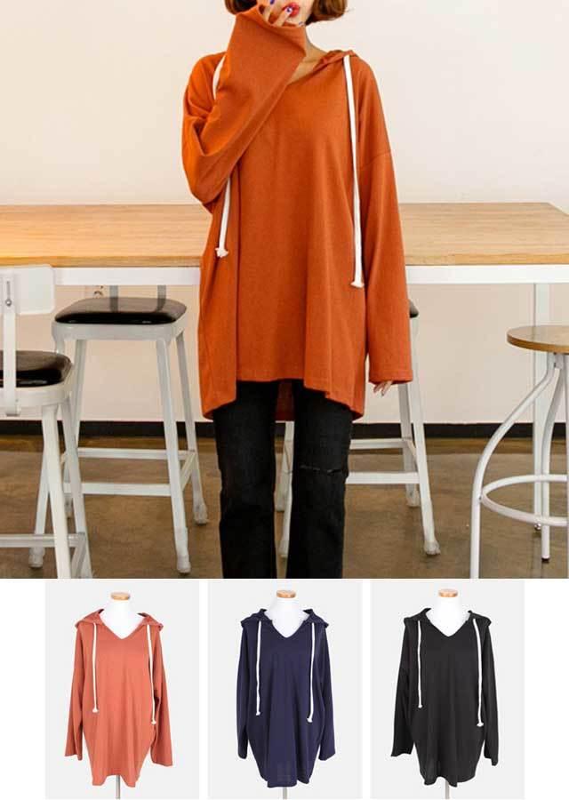 【秋新作】オーバーサイズ大きいフード付きロングTシャツ(ブリック/ネイビー/ブラック)【LLサイズ 3Lサイズ 4Lサイズ 5Lサイズ 6Lサイズ 7Lサイズ】