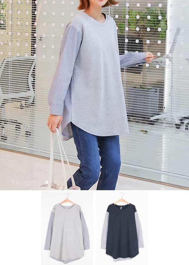 【秋新作】シンプルなシャツ&Tシャツ重ね着風Tシャツ(グレー/ネイビー)【Lサイズ LLサイズ 3Lサイズ 4Lサイズ 5Lサイズ 6Lサイズ】